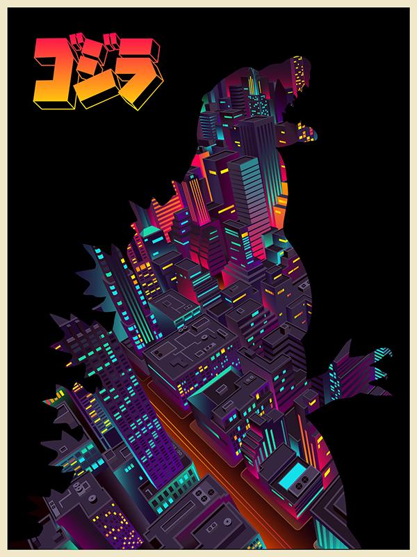 Stunningly Colorful Godzilla Art Work By AndyHau