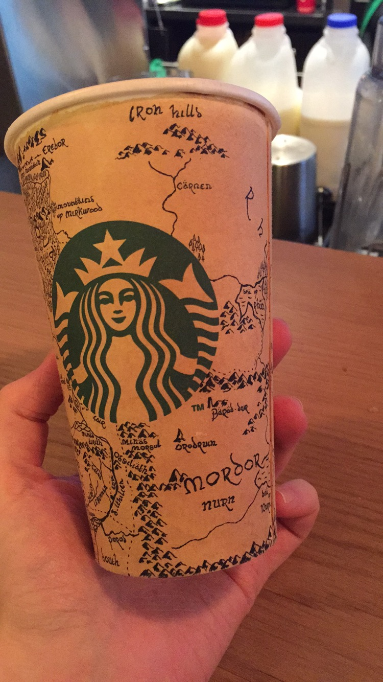 Starbucks Customer Draws Detailed Map of Middle-Earth on Coffee Cup