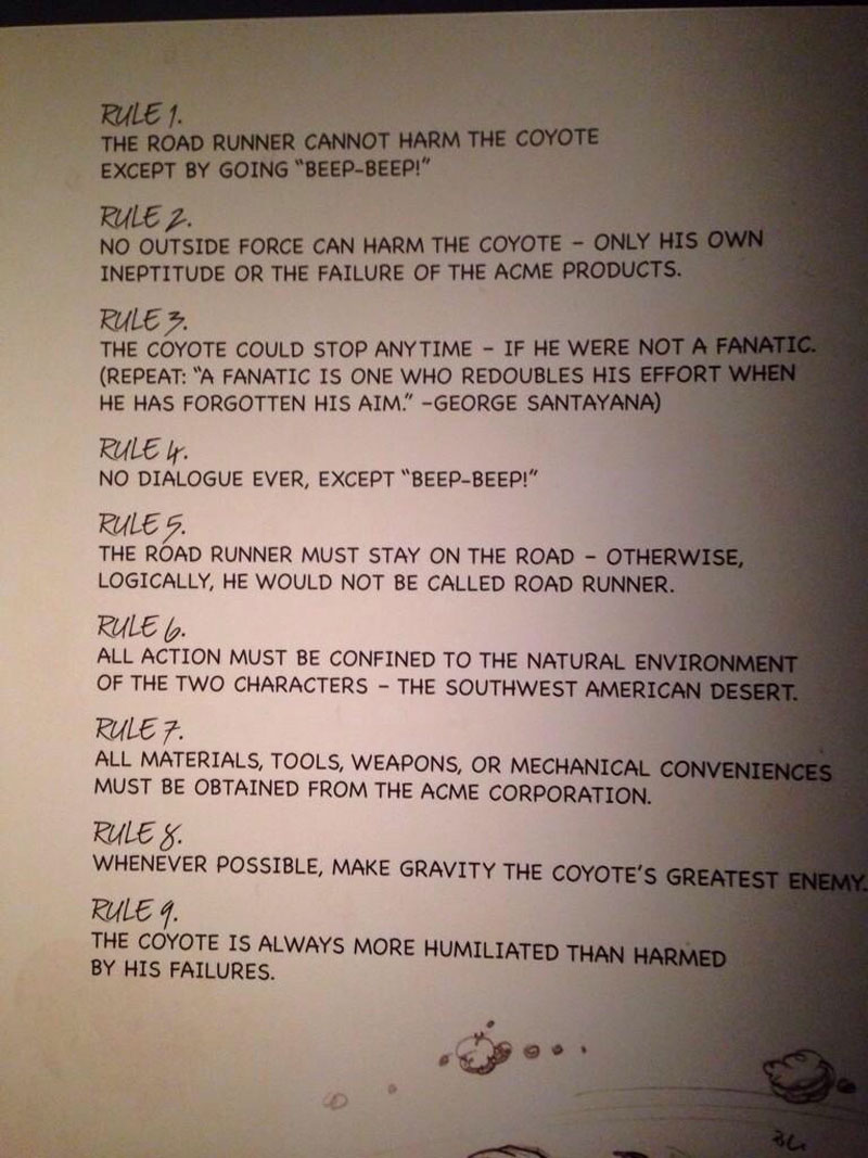 chuck-jones-9-rules-of-the-road-runner-and-wile-e-coyote