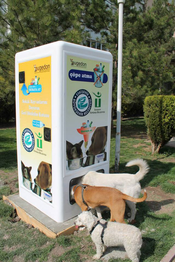 Feed This Machine Recycled Bottles And It Will Feed Stray Animals in Exchange