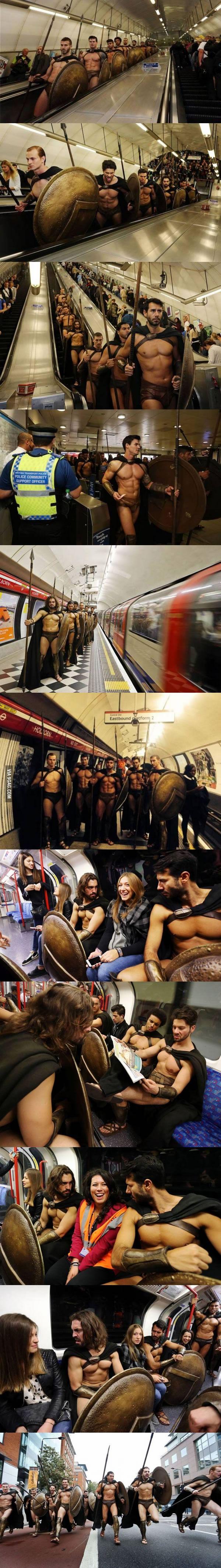 300 Spartan Cosplayers Invade London Underground