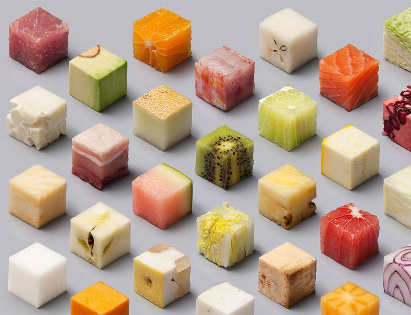98 Unprocessed Foods Cut Into Perfect Cubes