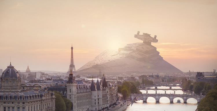 STAR WARS Ships Crashed in Real Cities