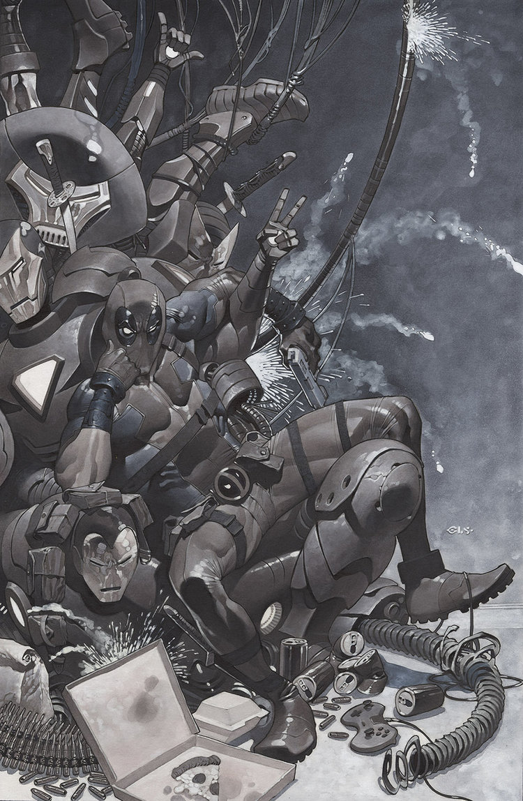 """Artist Christopher Stevens has created this great piece of commissioned art he did featuring Deadpool sitting on his iron throne. As you can see, the throne is a pile of Iron Man armor, which is hilariously appropriate for the Merc with a Mouth. Here's what the artist said about the piece:  This is my first regular Deadpool commission. I've done a couple sketch covers, but surprisingly, this is the first normal one and it was a a fun theme. The collector has a series of these where different characters sit on a throne made of Iron Man suits..a play on the Game of Throne's Iron Throne. I thought it was a good idea and enjoyed the piece. Stevens has created some great art, and you can see several more of his illustrations at the following links: The Avengers Battle Ultron in Series of """"What If"""" Cover Art, Amazing Post-Apocalyptic Captain America Fan Art, and Marvel and DC Art."""