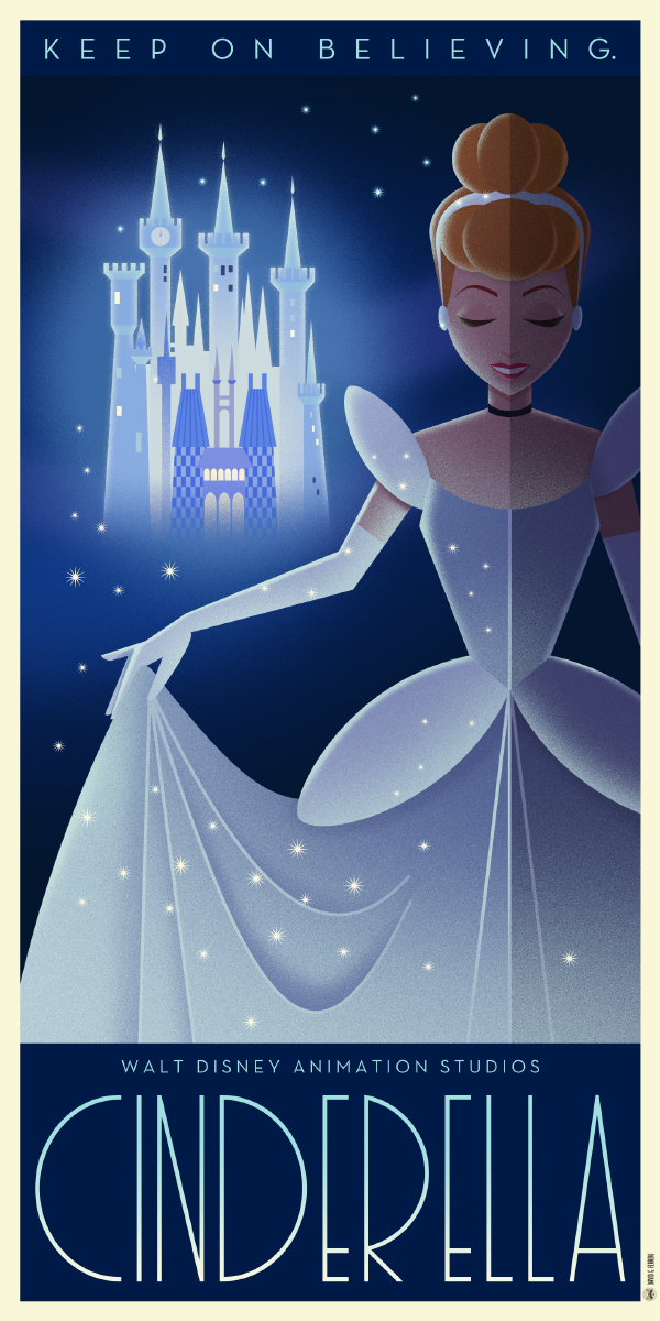 Art Deco Poster Art For Classic Disney Animated Films