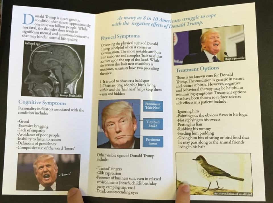Fake Health Brochure About Donald Trump ina Doctor's Waiting Room