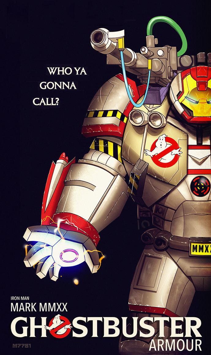 Ghostbusters Meet Iron Man Armor Fan Art