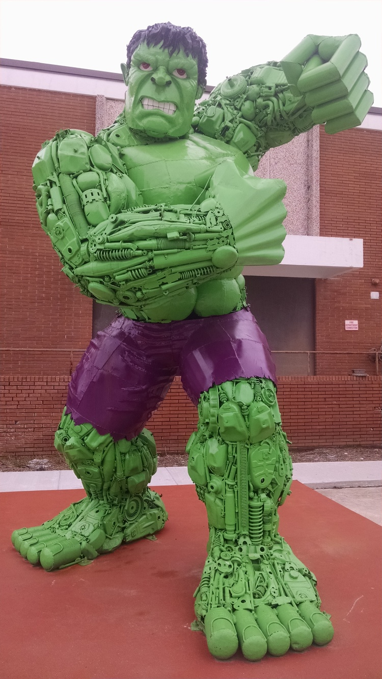 Hulk Sculpture Entirely Made out of Car Parts
