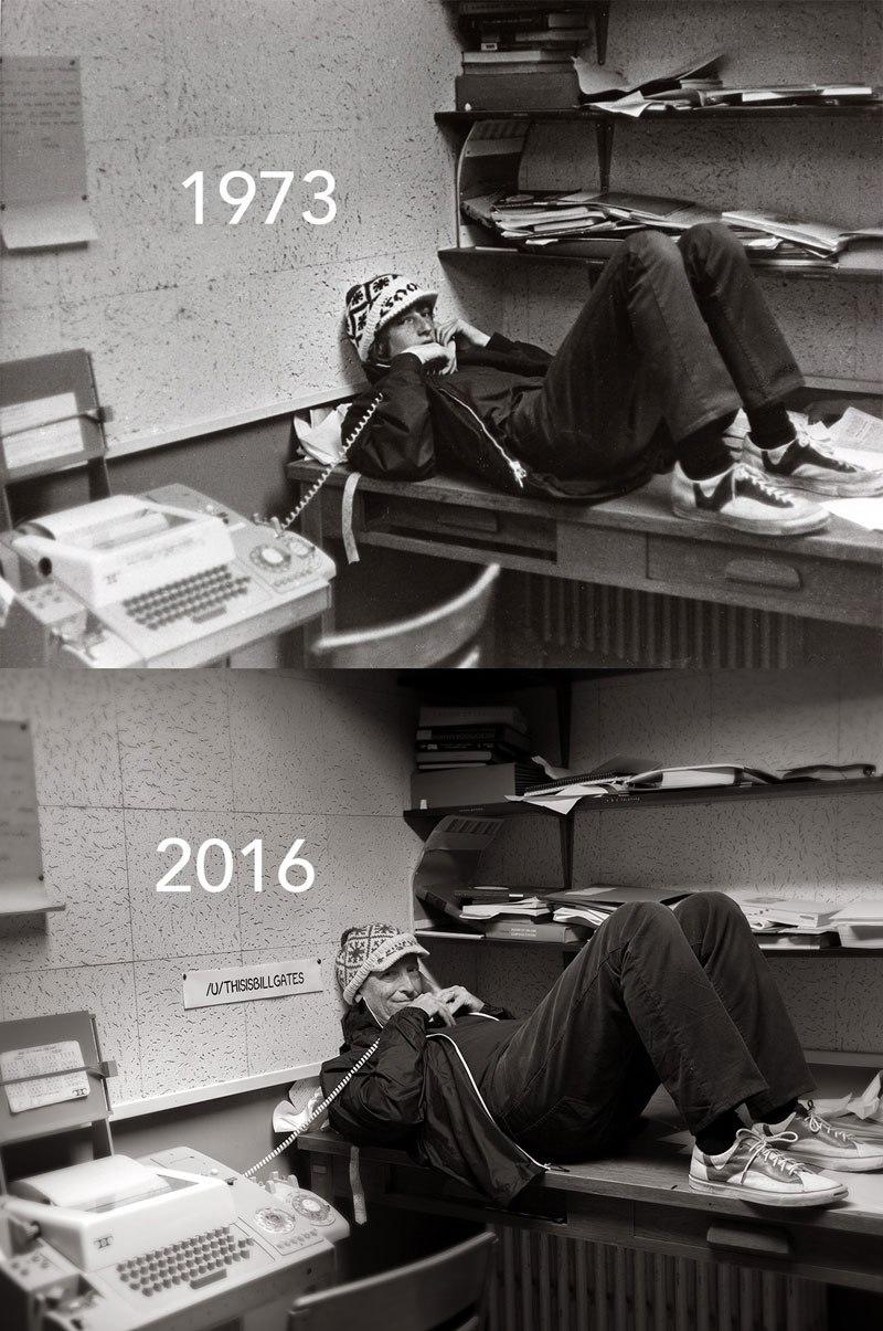 Bill Gates Recreates 1973 High School Yearbook Photo