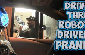 Robot Driving Through A Drive Thru Prank