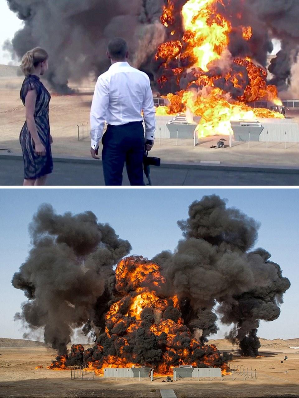 Spectre (2015) - (TOP) James Bond  (Right) with Bond girl Madeleine (Léa Seydoux) watch the demse of Blofeld's base - filmed in Erfoud , Morocco (BOTTOM) The 24th Bond film features the largest film detonation of all time, with 70 tons of TNT used. The explosion lasted 7.5 seconds. /