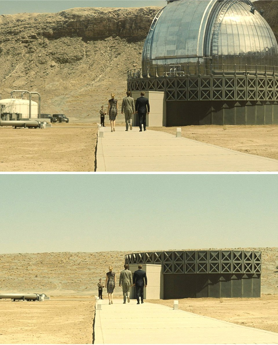 Spectre (2015) - James Bond  (Right) with Bond girl Madeleine (Léa Seydoux) approach Blofeld's desert lair. Filmed in Erfoud , Morocco Special Effects and computer graphics provide the entire domed roof of Blofeld's Observatory