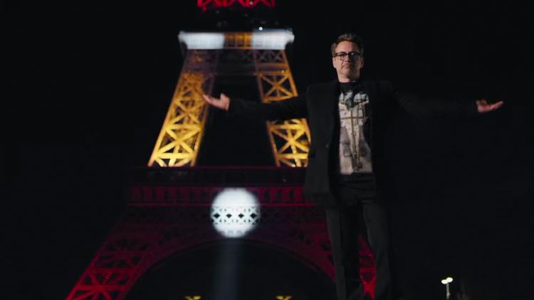 Robert Downey Jr. Lights Up The Eiffel Tower