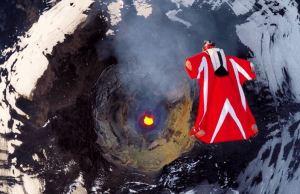 Wingsuit Flight Over an Active Volcano