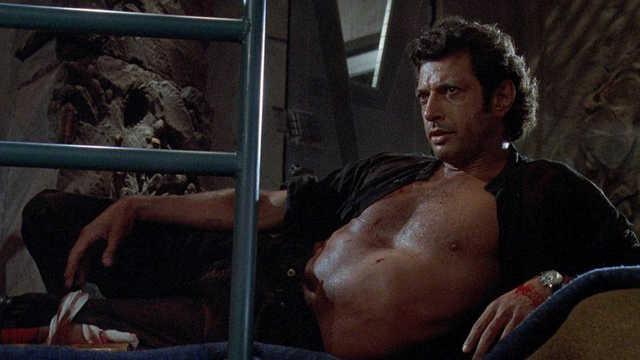 Jeff Goldblum appearing shirtless in Jurassic Park