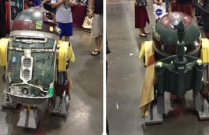 R2-D2 Cosplays as Boba Fett