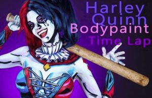 Harley Quinn Costume Body Painting Timelapse By Kay Pike