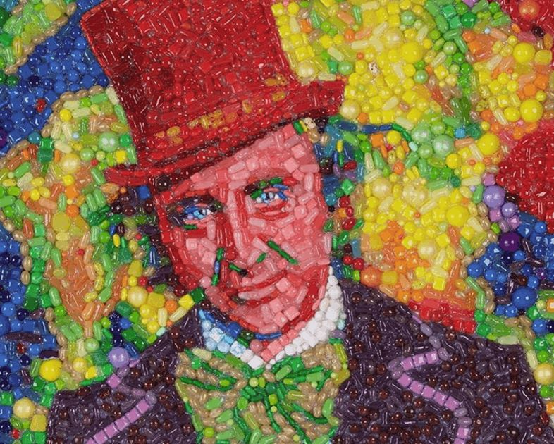 Gene Wilder as Willy Wonka In a Candy Mosaic Portrait