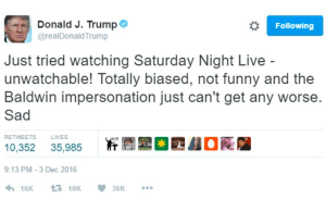 Trump's SNL Twitter Rant