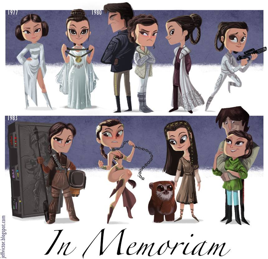 Carrie Fisher in Princess Leia Cartoon-Style Tribute Art