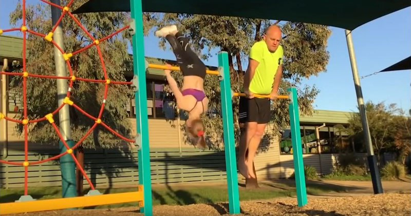 Dad Hilariously Tries to Copy His Daughter's Gymnastics Moves