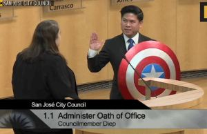 California Councilman Holds a Captain America Shield While Taking Oath