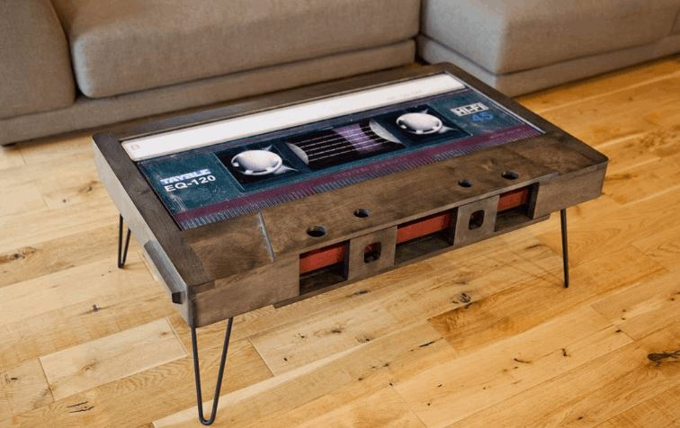 Awesome Coffee Tables Shaped Like Retro Cassette Tapes FizX - Cassette coffee table
