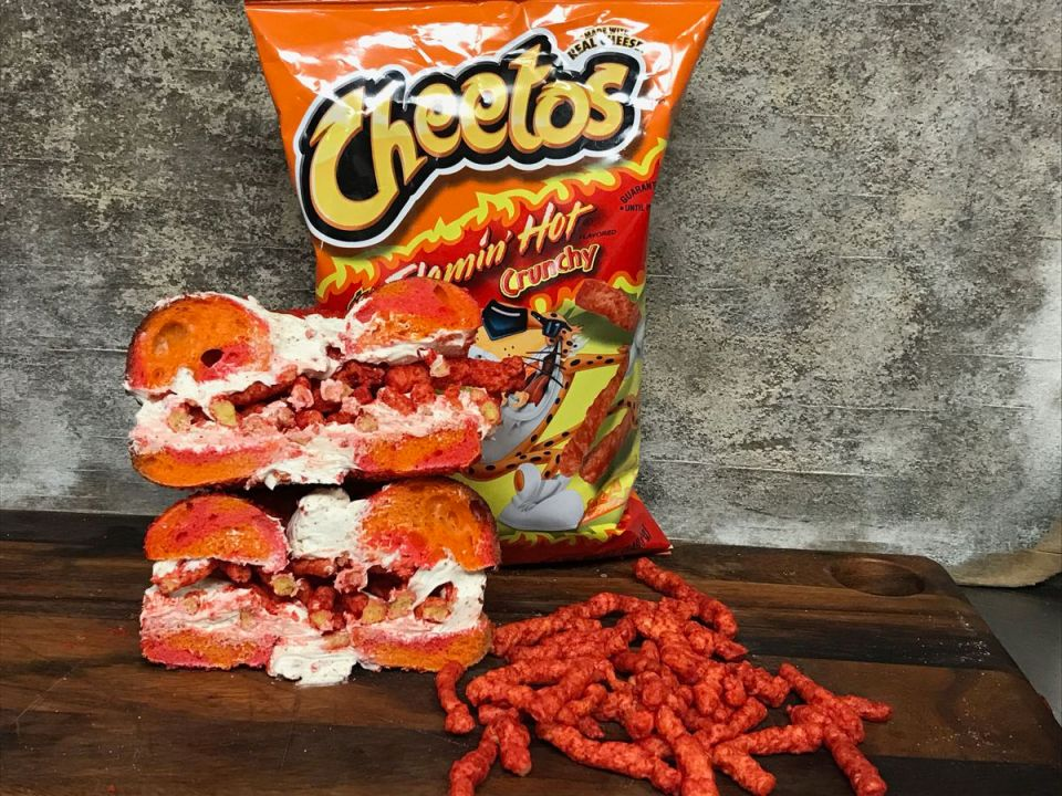 Flaming Hot Cheeto Bagels