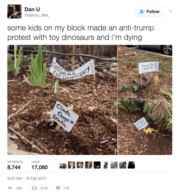 Family Staged a Hilarious Anti-Trump Protest With Toy Dinosaurs