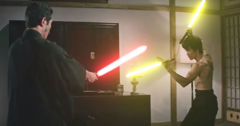 Someone Added Lightsabers to this Incredible Bruce Lee Fight Scene