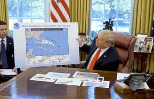 Trump Shows A Fake Hurricane Map Altered