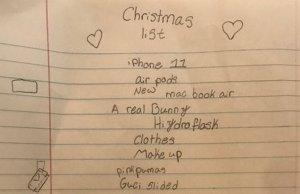 Little Girl's Christmas List