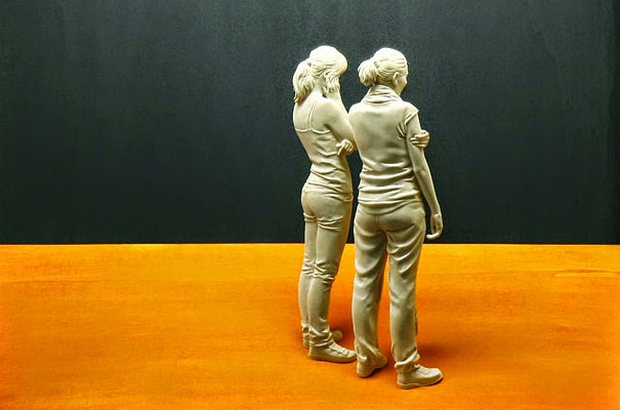 Realistic Hand-CarvedWood Sculptures Of People