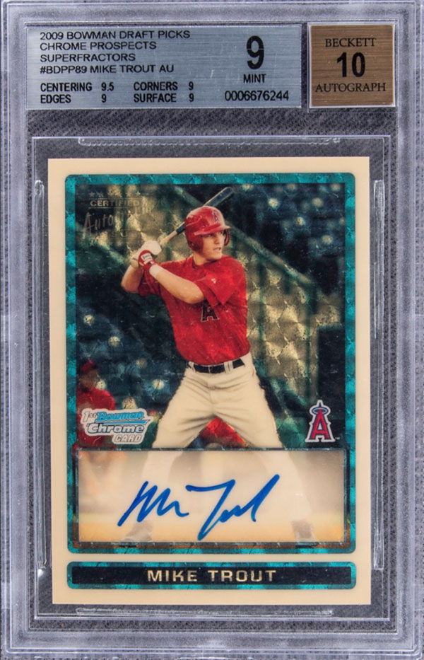 2009 Bowman Chrome Draft Prospects Superfractor Mike Trout Signed Rookie Card