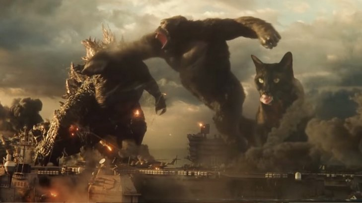Cat Faces Off with Godzilla and Kong