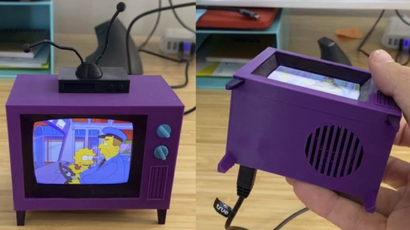 Small 3D Printed Simpsons TV