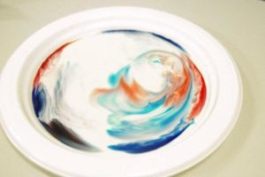 Milk rainbow science experiment - colours swirling on a plate