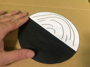 Benhams disc science experiment - gluing the disc onto cardboard