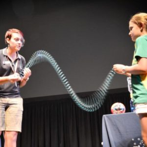 Slinky shake experiment by Holly SciFest Africa Grahamstown March 2015