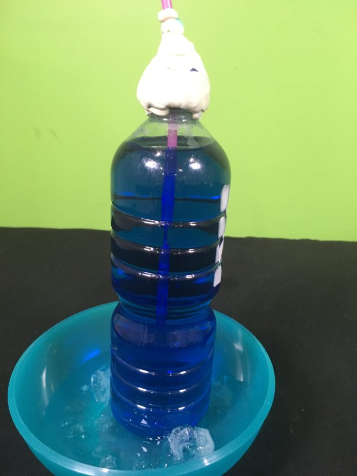 clay at the top of a water bottle with blue liquid in it