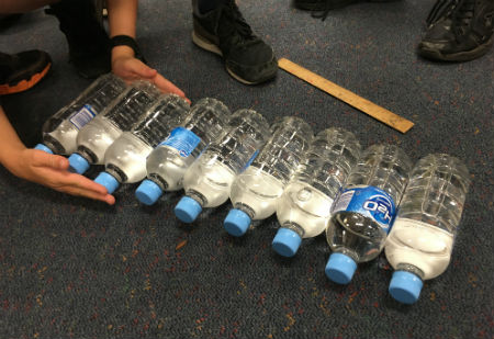 Lining up the water bottles