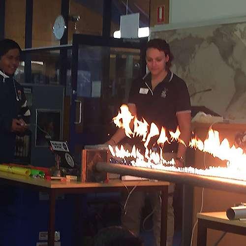 Ruben tube with student
