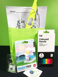 Birthday party bag with science materials