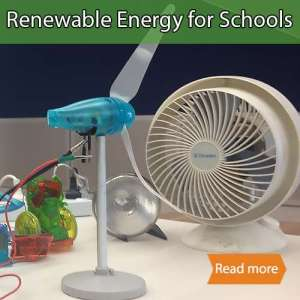 Renewable Energy science visits tile showing a wind turbine science resource in front of a fan