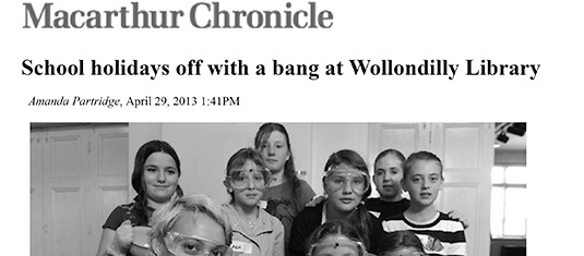School holidays off with a bang at Wollondilly Library 29 April 2013