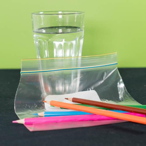 Leak proof bag experiment materials - 3 pencils, a cup of water and a zip lock bag