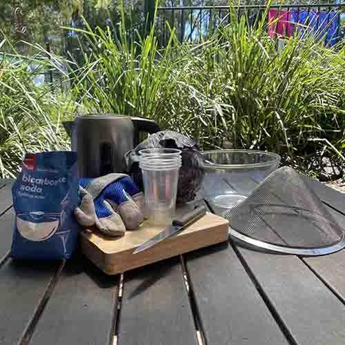 red cabbage, kettle, glove, chopping board, bicarbonate soda, strainer, glass bowl, knife and cups