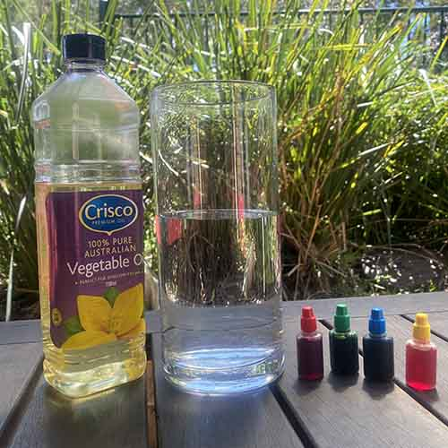 Vegetable oil, 4 food colouring squeeze bottles and a vase filled 2/3 with water