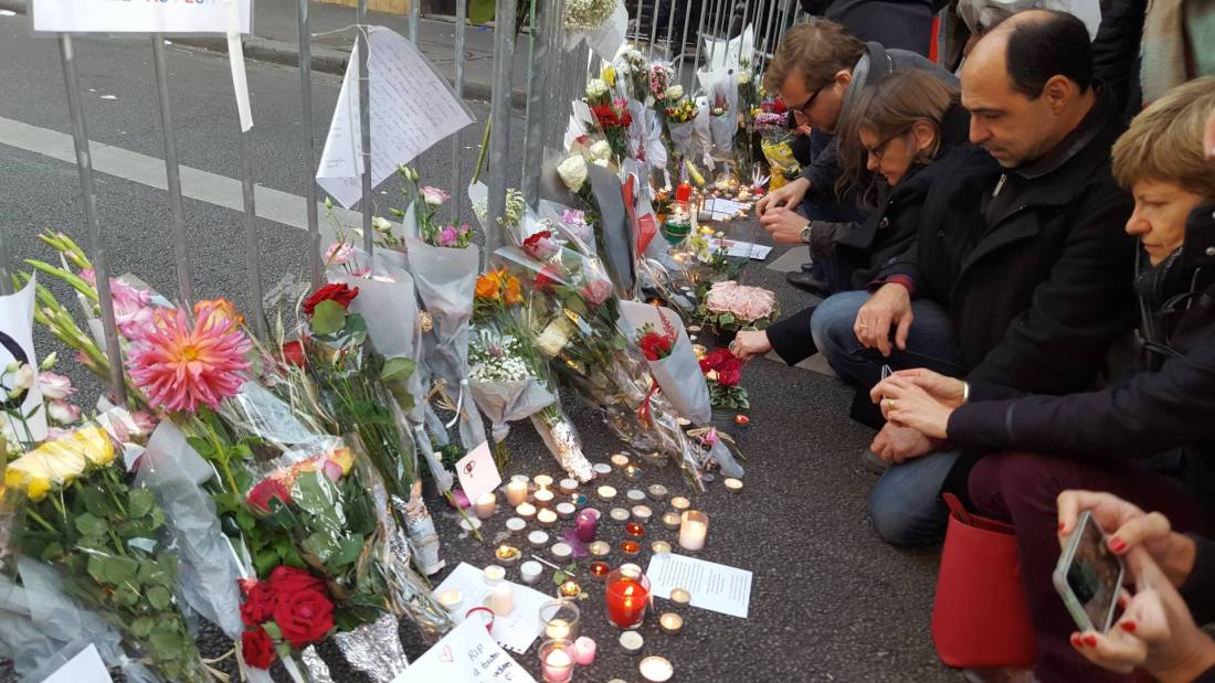 Memorial site at the Bataclan - after the terror attacks in Paris