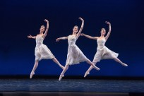 """Julia Cinquemani, Kate Highstrete and Laura Chachich in """"Tchaikovsky Piano Concerto No. 2."""" Photograph by Reed Hutchinson"""
